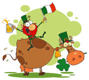 Lucky Leprechaun Riding a Cow. With a Glass of Beer and An Irish Flag vector illustration