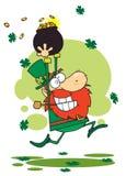 Lucky Leprechaun Running Through Shamrocks. With A Pot Of Gold stock illustration
