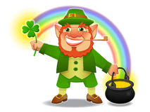 Lucky leprechaun with shamrock and treasure. In vector Stock Photography