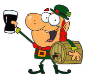 Lucky Leprechaun Toasting With A Glass. And Carrying A Keg vector illustration