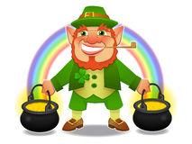 Lucky leprechaun with treasure and rainbow. In vector Stock Images