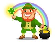 Lucky Leprechaun With Shamrock And Treasure Stock Photography