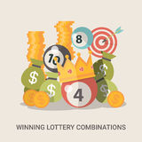 Lucky life concept vector illustration set Fortune. Success concept vector illustration. Flat style Lucky life web site banner image. Fortune money bag rich Royalty Free Stock Photo