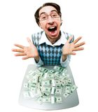 Lucky man. Fish-eye shot of happy screaming man with lots of dollars in front of him stock photography