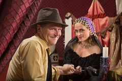 Lucky Man with Fortune Teller royalty free stock image