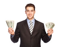 Lucky man with money Royalty Free Stock Photo