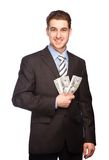 Lucky man with money Royalty Free Stock Image