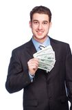 Lucky man with money Royalty Free Stock Photos