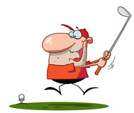 Lucky man swings golf club Royalty Free Stock Images