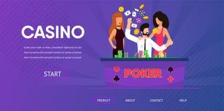 Lucky Man Win Money Happy Woman near Casino Table. Happy Lucky Man Win Money Poker Beautiful Woman near Casino Gamble Table Chip Tokens Vector Illustration stock illustration