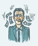 Lucky man winning jackpot vector illustration. Lucky man winning jackpot vector hand drawn illustration Royalty Free Stock Photo