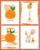 Lucky mandarin juicy card set Stock Photos