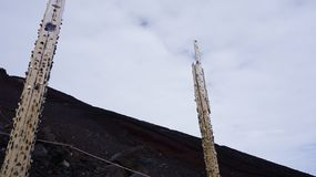 Lucky money on the gate of the Fuji mountain stock photos