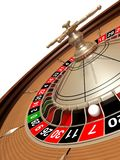 Lucky number. Rendered roulette wheel with the ball on number seven Royalty Free Stock Photos