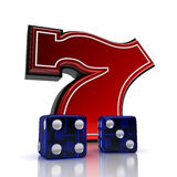 Lucky number seven with dice Stock Photography