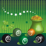 Lucky numbers. Abstract colorful illustration with colorful lottery balls, green clovers and pot of gold symbol of fortune royalty free illustration