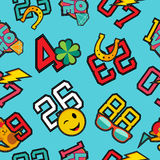 Lucky numbers stitch patch icons seamless pattern Royalty Free Stock Photos