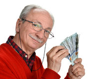 Lucky old man holding dollar bills. On a white background Stock Photos