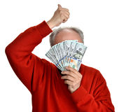 Lucky old man holding dollar bills Royalty Free Stock Photos
