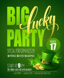 Lucky Party Poster St Pattys de Klavers en de rozen van de Dag Vector illustratie Royalty-vrije Stock Foto