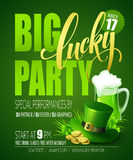 Lucky Party Poster St Pattys de Klavers en de rozen van de Dag Vector illustratie Stock Foto's