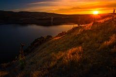 Lucky Peak Lake Dam at Sunset Stock Photos