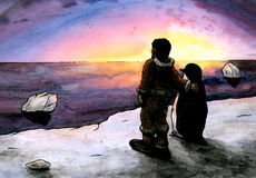 Lucky Penguin (2011). An abstract illustration of a man and a penguin standing side by side in a snowy landscape while watching the sun setting Stock Photos
