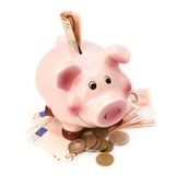 Lucky piggy bank isolated on white background Stock Images
