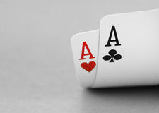 Lucky poker hand. Two aces lucky poker hand detail stock image