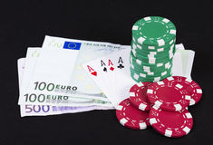 Lucky poker hand Royalty Free Stock Photo