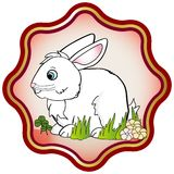 Lucky Rabbit. Illustrated easter bunny rabbit framed in gold and red lotus icon. Chinese zodiac (Sheng xiao) animal for new year 2011 calendar. ai vector and eps Stock Image