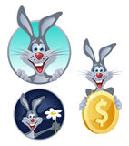 Lucky rabbit enjoying life. Cartoon styled vector illustration. Elements is grouped and divided into layers for easy edit Royalty Free Stock Image
