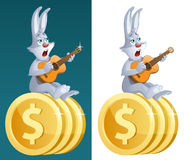 Lucky rabbit with guitar sings about successful business. Royalty Free Stock Photography