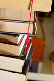 Lucky rabbit's foot, bookmark and books Stock Photo