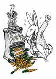 Lucky rabbit winning carrots stock photo