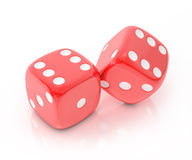 Lucky red dice isolated on white background. Object Stock Photo