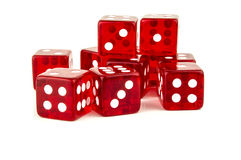Lucky red dice scattered Royalty Free Stock Photo