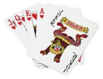 Lucky set of cards. Joker royal flush from Las Vegas Royalty Free Stock Photo