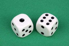 A Lucky seven. Closeup of a pair of dices that roll a lucky seven stock image
