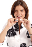 Lucky seven. Pretty young woman holding dices Stock Photo