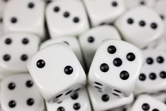 Lucky seven. Roll of the dice. Focus on the two and five stock images