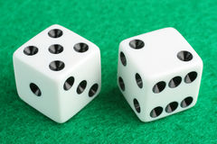 Lucky seven dice gambling concept Stock Photos