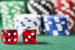 Lucky Seven Dice and Poker Chips Stock Image