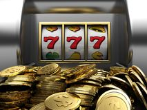 Lucky seven and golden coins Stock Images