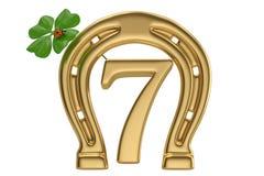 Lucky seven and horseshoe isolated on white background 3D illust. Ration royalty free illustration