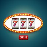 Lucky seven 777 slot machine. Casino vegas game. Gambling fortune chance. Win jackpot money.  royalty free illustration