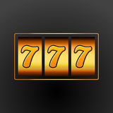 Lucky seven 777 slot machine. Casino vegas game. Gambling fortune chance. Win jackpot money.  royalty free illustration