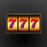 Lucky seven 777 slot machine. Casino vegas game. Gambling fortune chance. Win jackpot money Royalty Free Stock Photography
