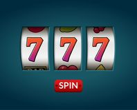 Lucky seven 777 slot machine. Casino vegas game. Gambling fortune chance. Win jackpot money.  Stock Photo