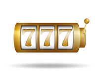 Lucky seven on slot machine. Gold Slot machine. Casino jackpot concept. Vector illustration. Royalty Free Stock Image